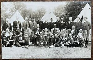 ANTIQUE RPPC PORTRAIT OF THE PRESS CLUB AT BISLEY WOKING SURREY 1911 AND TROPHY