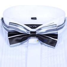 Men Satin Bow Tie Dickie Pre-Tied Wedding Tuxedo Tie Necktie Black White Line TR