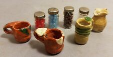Lot Dollhouse Miniatures Shadowbox Jars + Pottery Pitchers Decor