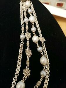 Unique Heavy Sterling Silver 925 Michael Dawkins Bracelet & Pearls 7.5 in ExCd