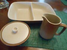 Metlox PoppyTrail California Tempo Brown Serving Dish & Cream Pitcher + Sugar