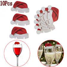 New Christmas Ornament 10pcs/lot Samll Hats For Champagne Glass Adornos Navidad