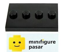 Lego Minifigure Black Tile Base Plate Modified 3 x 4 with 4 Studs in Center