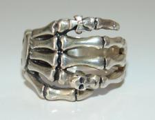 Vtg Sterling Silver Mens Rocker Biker Skull Bones Skeleton Ring Size 10 925