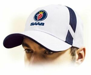 SAAB unisex Baseball Cap / Saab Hat. 100% Cotton. White color. Adjustable size