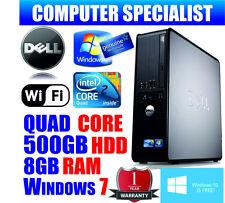 FAST DELL QUAD CORE PC COMPUTER DESKTOP TOWER WINDOWS 7 WI-FI 8GB RAM 500GB HDD