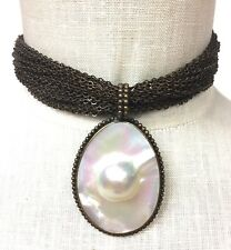 VGE STEPHEN DWECK Copper-Tone Chainlink Blister Pearl Pendant Choker/Necklace