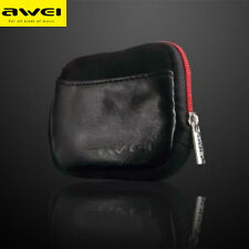 Leather Case Bag Storage Pouch For Headphone Earphone MP3 MP4 MP5 Player Awei