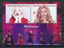 Central African Rep 2017 MNH Madonna 2v M/S Celebrities Popstars Music Stamps
