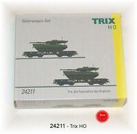 Trix 24211 Schwerlastwagen-Set der DB beladen mit Panzer Leopard 2 #NEU in OVP#
