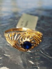 Blue Sapphire Round Cut Ring 14kt Solid Yellow Gold