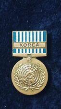 UN KOREAN SERVICE MEDAL US Military Hat Lapel Pin Double Clutch Back