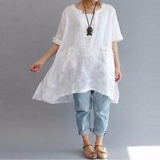 Women L-4XL Short Sleeve Irregular Cotton Linen Tops T-shirt Blouse Large Size