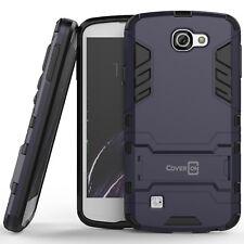 For LG Optimus Zone 3 / Rebel Hard Case Navy & Black Kickstand Protective Cover