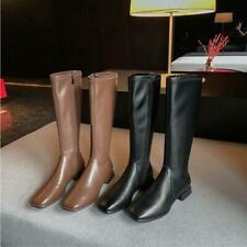 Women's Square Toe Leather Boots Knee High Block Shoes Side Zipper Low Heels New