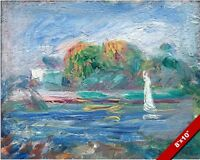 THE BLUE RIVER BY AUGUSTE RENOIR FRENCH PAINTING ART REAL CANVAS GICLEEPRINT