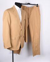 Society Zegna Herren Baumwolle Sand Anzug Größe EU54 R UK44