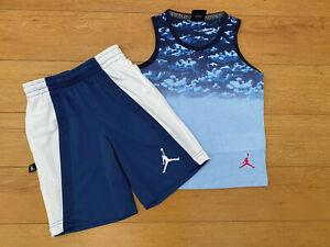 Little Boys Nike Air Jordan 2 Piece Shirt & Shorts Set Blue Ocean Sizes 4,5,6,7