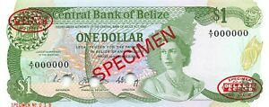 Belize  $1  1.11.1983  P 46as  Series A/7  Specimen # 19  Uncirculated Banknote