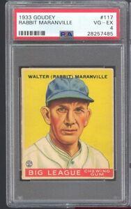 1933 Goudey Walter Rabbit Maranville #117 Boston Braves PSA 4 SET BREAK CLEAN !