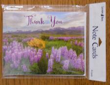 8 Leanin Tree Note Cards, Beautiful Purple Flower Field w/ Mountains, Thank You