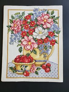 Embroidery Needlepoint Art Wall Hanging 11x14 Finished Flower Bouquet Strawberry