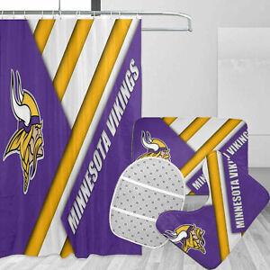 Minnesota Vikings Bathroom Rug Set 4PCS Shower Curtain Bath Mat Toilet Lid Cover