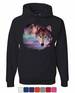 Wolf Howling at Moon Hoodie Wilderness Wildlife Wild Wolf Pack Sweatshirt