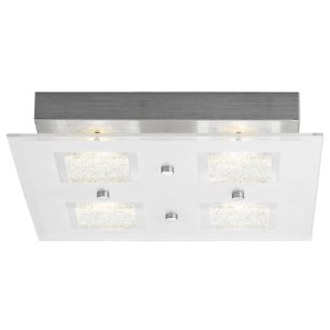 Modern Chrome Square LED Bathroom Light with Clear/Frosted Glass Plate by Hap...