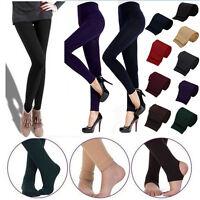 Womens Warm Winter Skinny Slim Cotton Full Leggings Stretch Pants Thick Footless