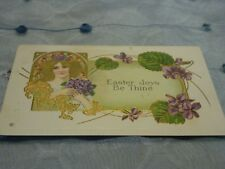 Art Nouveau Lovely Lady With Gold Hair and Violets Easter Joys
