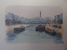 18 / AQUARELLE PARIS / Le Canal Saint Martin et la Bastille