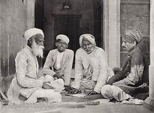 1928 Original INDIA Chitogarh Men Beard Turban Business Photo Art By HURLIMANN