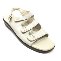 Women's SAS Strappy Sandals Shoes Size 9.5N Beige Leather Wedge Slingback G12