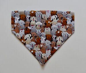 TAN/GREY/WHITE DOGS DOG SCARF/BANDANA--S, M, L