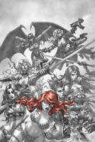 Red Sonja Age of Chaos #1 1:15 Quad B&W Red Virgin Dynamite1st Print 2020 NM