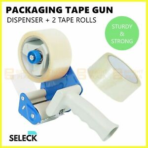 Packing Tape Dispenser Gun + 2 Rolls 50M x 48MM Clear Tape With Cutter Packaging