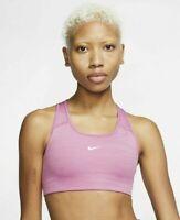 Nike Swoosh Bra Women's Dri-Fit Medium Support Sports Running Pink BV3636-693