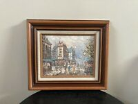 Vintage Oil Painting Signed Paris Street Scene W. Burnett?