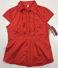 MERONA - Cap Sleeve CORAL Orange-Red Ruffle Front Side-Zip Shirt - Medium NWT