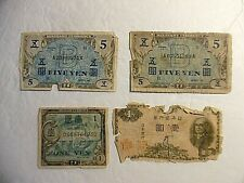Vintage Military Currency Japanese (2) Five Yen (2) One Yen