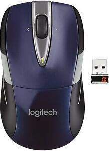 New Logitech M525 2.4GHz Wireless Optical Scroll Mouse w/ Tilt Wheel--Navy/Grey
