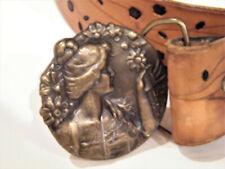 Art Nouveau Bergamot Brass Works BELT Buckle Lady Brass w Leather Belt 30 31 32