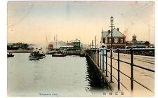 Yokohama Japan - View On Yokohama Pier - Handcolored Postcard