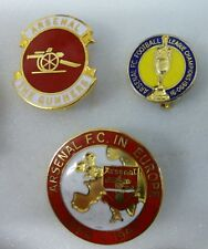 ARSENAL FOOTBALL Enamel Pin Badges x 3 CHAMPIONS 1990-91 THE GUNNERS IN EUROPE
