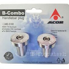 Acor Alloy Handlebar Bar End Ends Plugs Plug MTB Bicycle Bike Silver 18mm