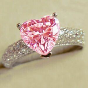 Gorgeous Women 925 Silver Pink Sapphire Ring Wedding Party Rings Gift Size 6-10