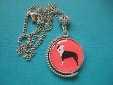 Love My Staffy Dog Necklace Pendant Metal Chain Silver Double Sided Bull Terrier