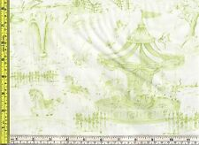 Carousel Horses in Dream Park Green Toile Wilmington Cotton Fabric by 1/4 yard