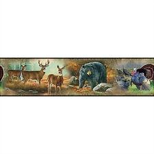 GREAT OUTDOORS WALLPAPER BORDER peel & stick wildlife deer bear turkey decor